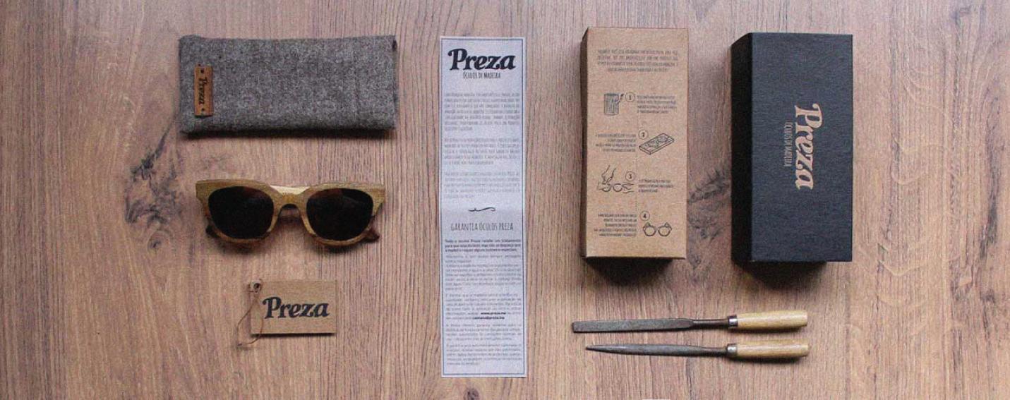 Logo Preza Óculos de Madeira Embalagem - Preza